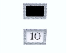 Silver Rhinestone Frame Table Number Wedding Centerpiece Rhinestone Picture Frame Wedding Place Cards Favors With or W/O Glitter Paint