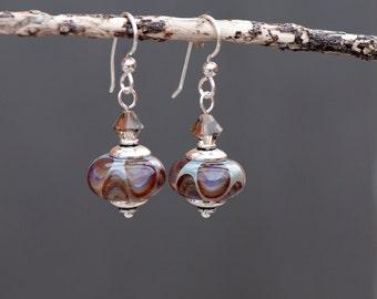 Beige & Grey Lampwork Bead Earrings, Artisan Glass Bead Earrings, Swarovski Crystal, Sterling Silver, Brown Earrings, Neutral Tone Earrings