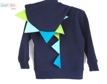 2T Navy Dinosaur Hoodie with Blue & Green Spikes