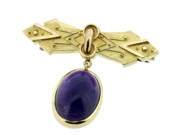 14K Gold Amethyst Brooch