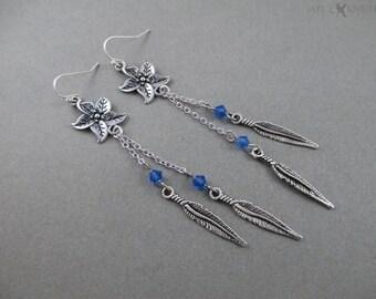 Flower Feather Earrings - Silver
