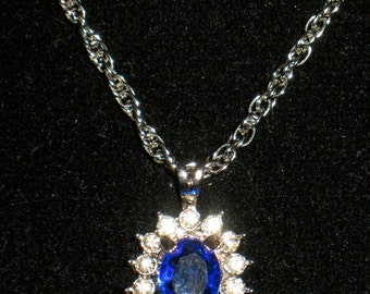 Sapphire Blue Rhinestone Prong Set Open Back Prince of Wales Pendant Necklace 18 inch