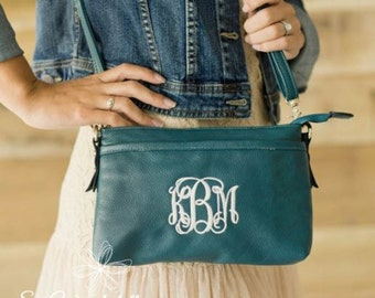 Monogrammed Crossbody Purse - Bree Crossbody Purse - Sea Green, Black, Navy and Camel Colors Available - Monogrammed Purse