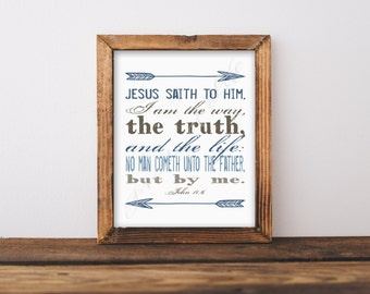 Bible verse art. I am the Way, the Truth, and the Life. John 14:6. Christian artwork. Scripture. Instant download. Printable. Names of Jesus