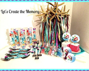 Ariel LIttle Mermaid Candy Tubes -  Under the Sea -  Little Mermaid Theme - set of 12