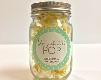 She's About to Pop Labels / Stickers - Baby Shower Favors - Popcorn