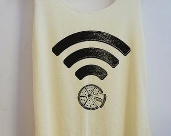 CLEARANCE Funny Pizza Wifi Tank Top Pop Women Tank top Gift Vest Women T shirt T-Shirt Size S,M,L