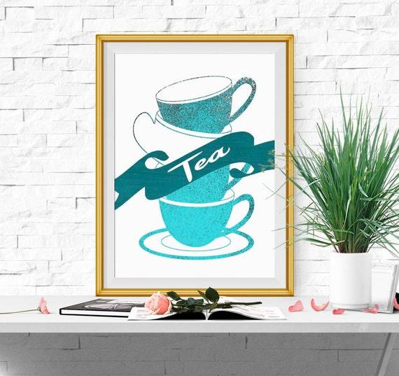 Kitchen Decor Turquoise: Kitchen Decor Kitchen Printable Turquoise Kitchen Wall Art