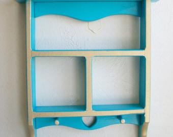 Vintage Upcycled Turquoise Curio Shelf