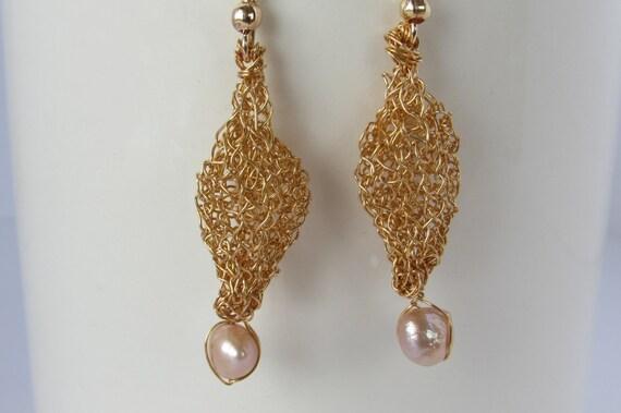 Gold and freshwater pearl earrings. Dangling earrings. Pearl earrings ...