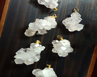 Crystal Quartz Cluster Pendant - Crystal Quartz Cluster Gold Tone Wire Wrapped Pendant 1, 5, or 10 pcs Wholesale Crystals (RK50B3b)