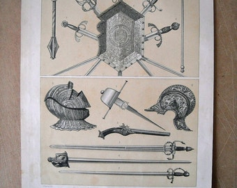 1879 Medieval Weapons of the fifteenth and sixteenth centuries. Authentic chromolithograph of nineteenth century