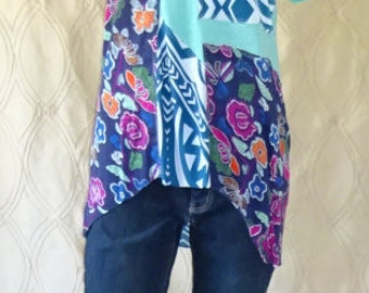Knit Tunic Fun Festive Upcycled Top Boho Chic Repurposed Eco-Friendly Fashion