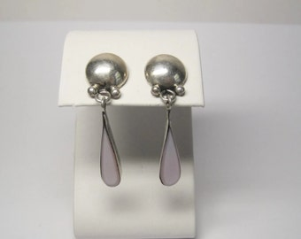 Vintage Mother of Pearl Earrings Sterling Dangle