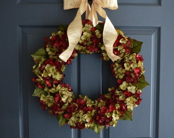 Christmas Wreath in Blended Deep Burgundy and Green | Blended Hydrangea Wreath | Holiday Wreath | Front Door Wreath