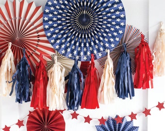 SALE! Stars and Stripes Tassel Banner from My Mind's Eye Paper Goods - 12 Pre-made Tassels with 9 ft of Twine