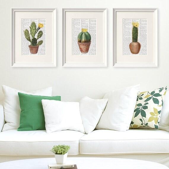 Conjunto tres laminas diccionario cactus pagina libro - Laminas decorativas para cocinas ...