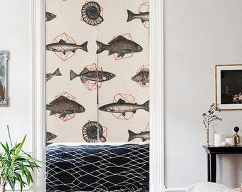 Home decor art linen door curtain 4 themes to choose: deer/star/fish/geometry