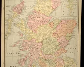 Scotland Map Scotland Antique LARGE Early 1900s Original