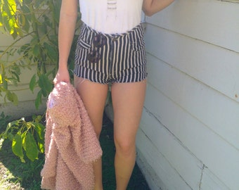 High Waisted Black and White Striped Paris Blue Shorts