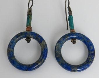 Antique Sterling Egyptian Lapis Turq Estate Earrings.