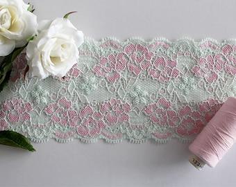 Stretch lace, lace trim, mint green stretch lace, mint lace trim, narrow stretch lace, lace yardage, 2 tone lace trim, pink lace