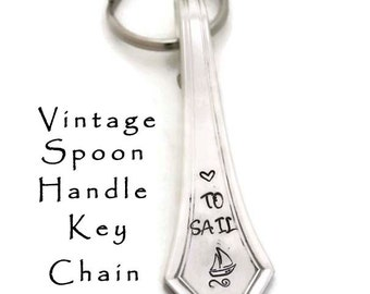 Stamped Spoon Keyring Love to Sail Engraved Silverware Key Ring Nautical Gift for Sailo  Vintage Spoon Handle Key Chain Sierra Reed & Barton