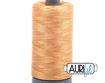 Aurifil Creme Brule Variegated (4150) Mako Cotton 28wt Thread; for hand or machine embroidery, applique, quilting; Lg spool: 820 yards
