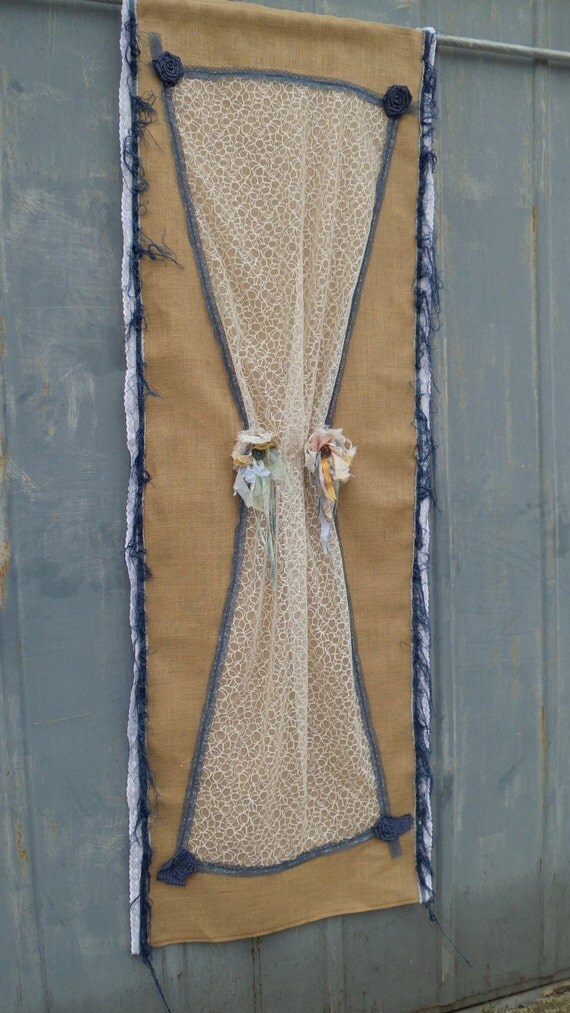 Burlap And Blue Jean Denim Curtains Panels Drapery French