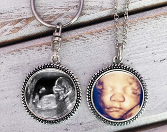 BABY SONOGRAM necklace and key chain SET, baby sonogram necklace, ultrasound necklace, Ultrasound key chain, Pregnancy, Sonogram jewelry