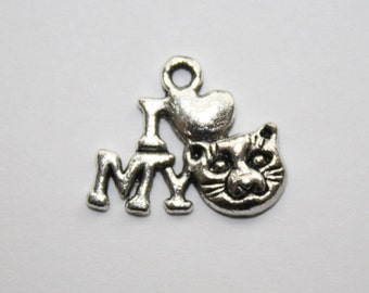 Cat Charm, Cat Pendant, Kitten Charms, I Love My Cat, Bracelet Charms, Charms  - 14x16mm - 20ct - #524
