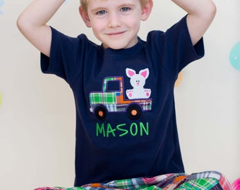 Boy's Easter Shirt with Easter Bunny in Plaid Truck and Embroidered Name - M2