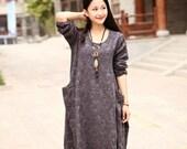 Linen dress Cotton dress Maxi dress Casual loose long dress Plus size dress Autumn Large size dress Plus size clothing Winter Women Dresses