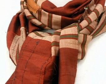 Samurai Boro Scarf / Tsumugi Pongee Men's Scarf / Japanese Vintage Silk Kimono Fabric / handmade / 030401