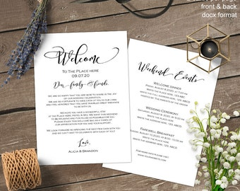Printable, Wedding itinerary, welcome bag, welcome letter, wedding welcome note, printable, thank you, templates, diy,S9