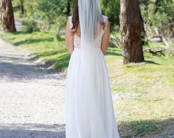 Andrea Single tier veil in, tulle veil, veil, mantilla, traditional veil