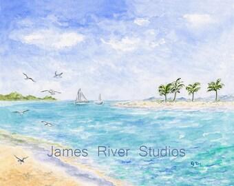Beach Painting Beach Art Print. Tropical Beach Watercolor Painting Ocean Painting Seashore Art Tropical Island Art Seabird Sailing Art Print