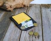 Small coin purse/bag rack in dark grey felt and felt Pocket sunflower yellow