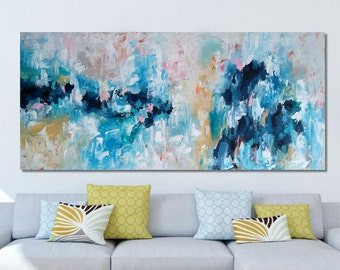 EXTRA LARGE Abstract Painting Free Shipping Wall Art Original Painting Blue White 150 CM Large Canvas Blue Texture Palette Knife Pastel Art