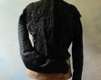SOLD French Belle Epoque, Victorian, beaded, black, silk, bodice, blouse, top, museum, study, prop