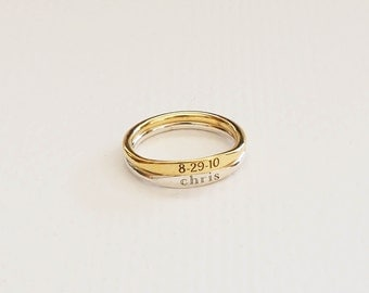 Skinny Name Ring in Sterling Silver • Personalized Stackable Rings • Custom Coordinates Ring • Bridesmaid Gift • Wedding Gift • RM21F41