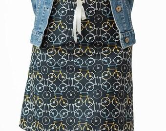 Black Mini Skirt ~ Bicycle Fabric ~ Modern Bicycle Fabric ~ Black Dress Skirt ~ Black Work Skirt ~ Casual Black Skirt ~ Sizes : XSmall