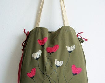 Poppies tote bag, hand painted and unique red and white poppies on army green tote bag, made in Croatia