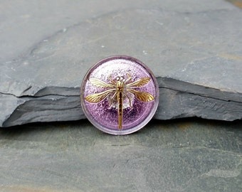 31mm Lilac Dragonfly Button Czech Glass 24K Gold BC10,lilac glass button,purple glass button,sewing button,dragonfly button,glass dragonfly
