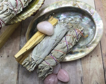 Smudge kit, White Sage Stick,  sage bundle,  Palo santo Stick , Abalone shell, rose quartz crystal, housewarming gift white sage kit
