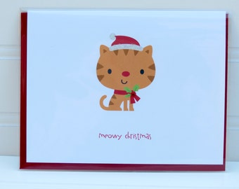 Cat Christmas Card, Christmas Cat Card, Meowy Christmas, For Cat Owner, From the Cat, Cat Lover, Funny Card, Orange Tabby Cat Card, Cat Card