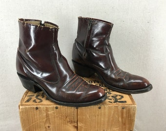 Vintage Cordovan Leather Side Zip Beatle Boots Men's Size 8