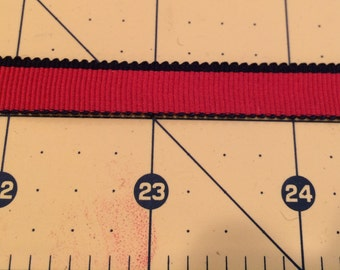 """Red with navy edging grossgrain ribbon, 3/8"""" wide - 7 1/2 yards"""
