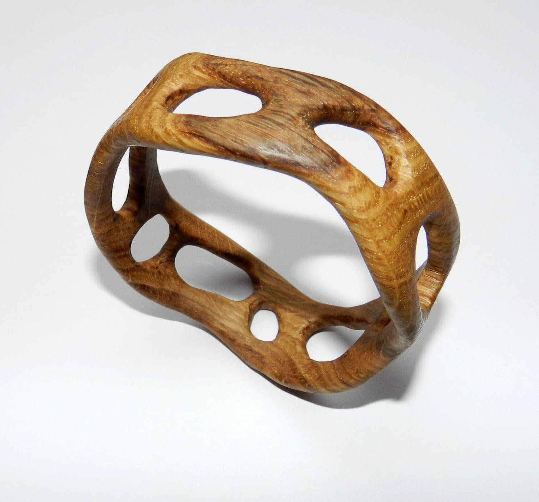 wooden bracelet wooden bangle handcarved by oakforestwoodwork