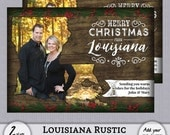 Louisiana LA Christmas Card State Rustic Cajun Wood Holiday Photo PSD PhotoShop Template Greeting - 4x6, 5x7 - Instant Download